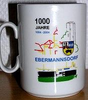 """Zeigt die Tasse """"1000 Jahre Ebermannsdorf"""""""